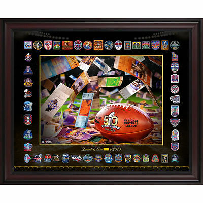 """Super Bowl On The Fifty Framed 16"""" x 20"""" Patches Collage - Fanatics 2350736"""