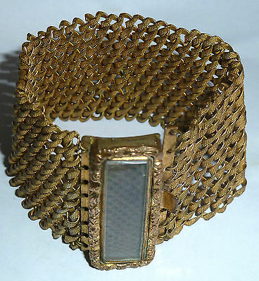 A Georgian Gold Tone Woven Hair Openwork Bracelet