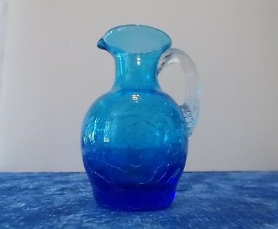 Small Blue Crackle Vase/Pitcher great for oil or bubble bath