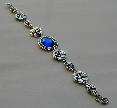 Camellia Filigree Victorian Style Deep Blue Silver Plated Bracelet Cfb