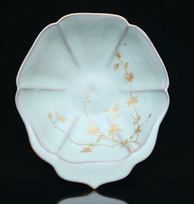 chinese ancient Sky blue glaze porcelain inlaid with gold sculpture flower wash