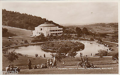 Postcard Belfast Northern Ireland view of Floral Hall and Pond at Hazelwood RP