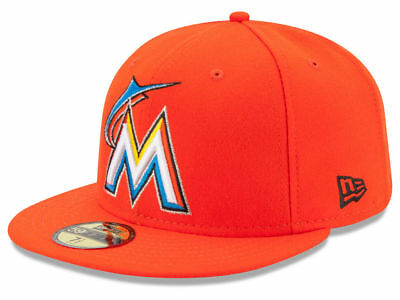 best sneakers d7ba5 c327a New Era Miami Marlins 2017 ROAD 59Fifty Fitted Hat (Orange) MLB Cap