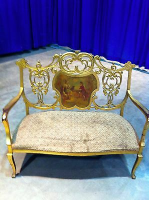 RARE French Antique Country Settee Gold Leaf  Love Seat Wood Hand Painted 1870