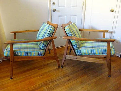 Mid Century Modern Danish Style Lounge Chairs / Solid Wood Arm Chairs