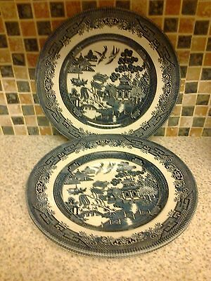 Churchill Willow Pattern Plates X 3 Measures 9.5 Inches Across