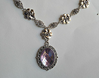 Camellia Filigree Victorian Style Lilac Purple Acrylic Silver Plated Necklace Cf