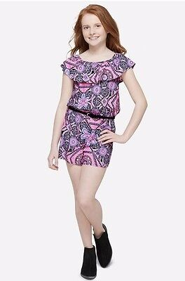 NWT JUSTICE Girls 10 12 Pink Belted Medallion Flounce Romper