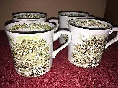 j & g meakin england green cottage set of 4 coffee cups
