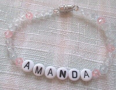 "Personalized 6""  Beaded Name Bracelet With The Name Amanda-Pink/blue"