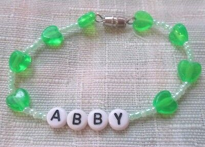 "Personalized 6""  Beaded Name Bracelet With The Name Abby-Green"