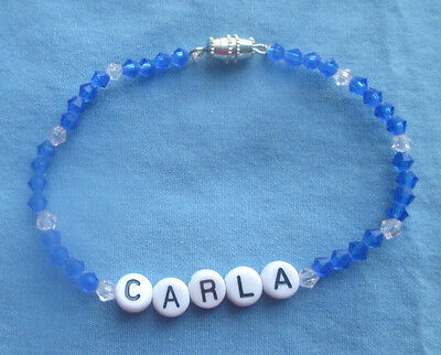 "PERSONALIZED 6 3/4""  BEADED NAME BRACELET WITH THE NAME Carla-NEW-blue"