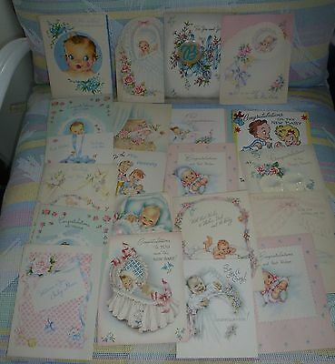 Vintage  Paper Greeting Cards 1930-40's Lot of 50  Baby Welcoming Birth Cards