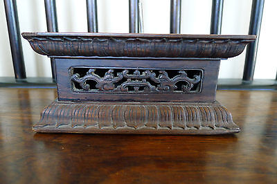 Beautiful Chinese hardwood rectangular display stand with lappets
