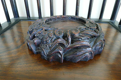 Rare large carved hardwood Chinese display stand