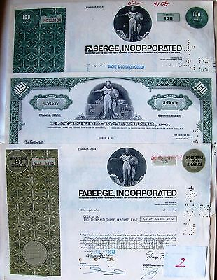 Stock certificate Faberge Inc (former Rayette) Lot of 9 pcs 3 different types