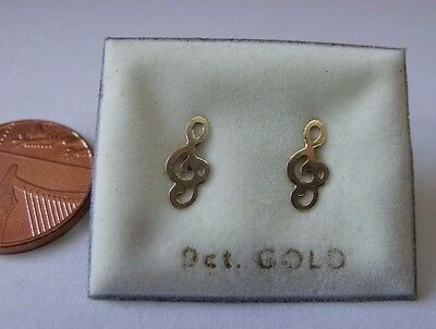 9ct Gold Treble Clef Stud Earrings With Butterfly Backs