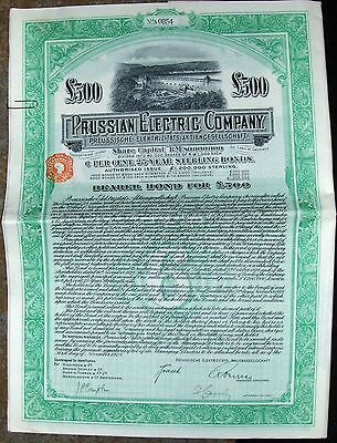 Prussian Electric Company  £500 BOND. Germany 1928 green Prusia cancelled