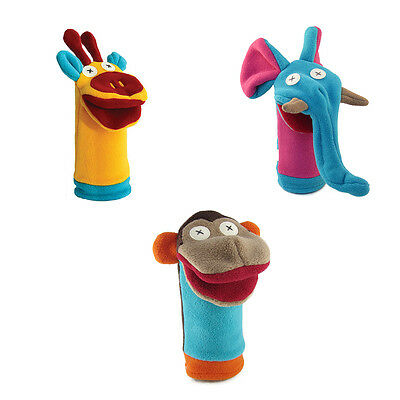 Cate and Levi Zoo Friends Set of 3 Hand Puppets-Monkey, Giraffe & Elephant (CAD)