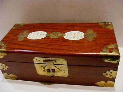 ORIENTAL ASIAN CHINESE Ornate WOODEN JEWELRY BOX wBrass & Carved Oval Medallions