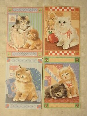 4 Kitty Cat Kitten Blank Note Cards by Olympicard