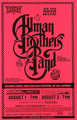 Allman Brothers Band _RARE 1999 Shoreline Amphitheatre Phone Pole Poster - Red