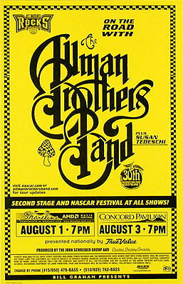 Allman Brothers Band RARE 1999 Shoreline Amphitheatre Phone Pole Poster - Yellow