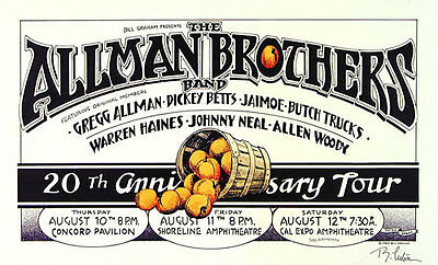 Allman Brothers _RARE 20th Anniversary 1989 Concert Poster Signed by Randy Tuten