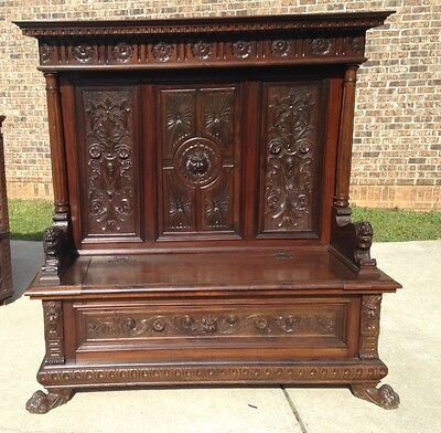 Beautiful  Antique French Highly Carved  Walnut Hall Bench