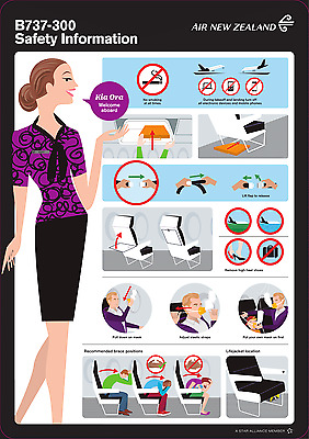 Air New Zealand Boeing 737-300 Safety Card