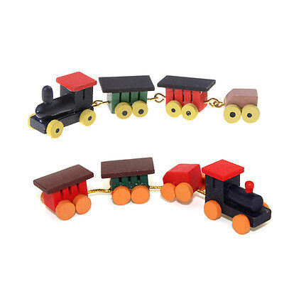Cute 1/12 Dollhouse Miniature Painted Wooden Toy Train Set and Carriages SEAU