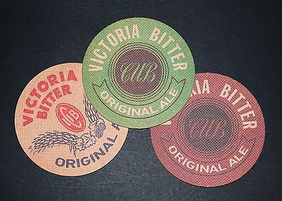 3 x Different VB / Victoria Bitter Ale Heritage Promotion Beer Coasters - Mint!