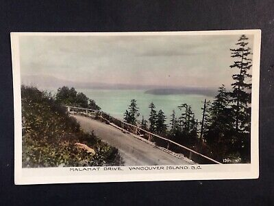 Vintage Postcard Coloured Real Photo MALAHAT DRIVE, VANCOUVER ISLAND BC c1940s