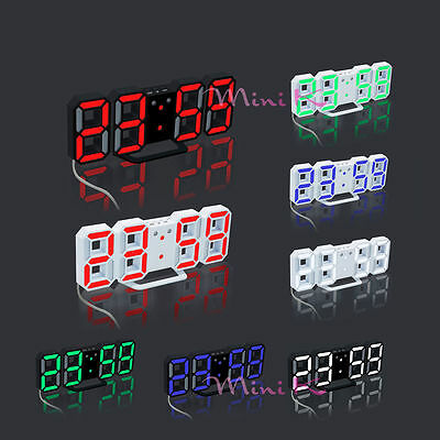 24 or 12 Hour Display Modern Digital LED Table Desk Clock Watches Alarm Snooze