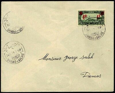 """SYRIA 1931 2pi ON 1pi 25¢ IN RED DOUBLE OVPT TIED BY """"DAMAS-SALHIE"""" CDs TO DAMAS"""