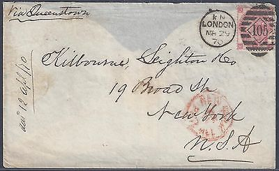 UK GB TO US 1870 3d ROSE PLATE 5 TIED 105 DUPLEX CANCEL LONDON TO NEW YORK FLAP