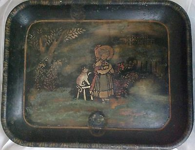 Scarce Antique vtg 19th Century 1800's Stenciled Tin Toleware Tray Girl with Cat