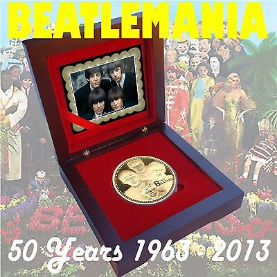 1963-2013 Beatlemania 50 years Gold Layer Coin Limited COA Beatles Anniversary