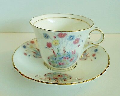 Colclough Cup & Saucer #6326 Flower Garden English Bone China Vintage c 1939 EUC