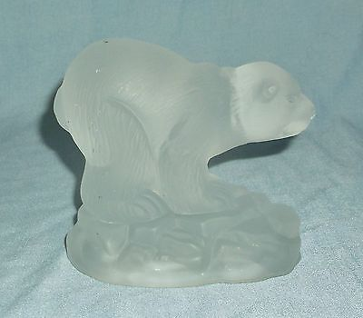 Heavy Frosted Glass or Crystal Polar Bear on Iceberg Figurine Paperweight