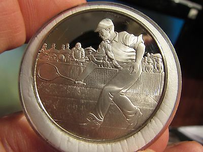 RARE of 1975 MINTAGE: WIMBLEDON ANNIVERSARY 1977 BRITISH .925 SILVER PROOF MEDAL