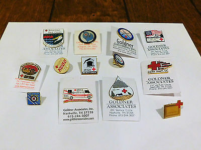 Lot of 13 American Red Cross Lapel Pins - Most ARC Chapter Tacks