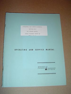 Hewlett Packard 855C DC Power Supply 1967 Operation & Service Manual