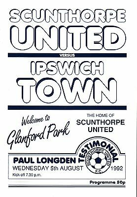 1992/93 Scunthorpe United v Ipswich Town, Longden Testimonial, PERFECT CONDITION