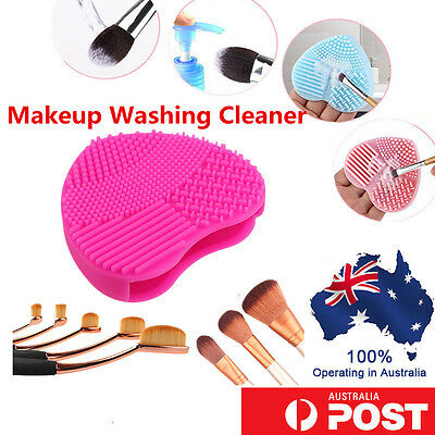 Heart Shape Silicone Makeup Brush Cleaning Mat Scrubber Board Washing Pad