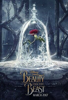 Beauty and the Beast Rose in Glass Bell 2017 A4 Movie Poster Print