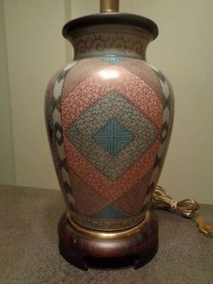"FREDERICK COOPER Asian ""diamond"" pattern crackle glaze table lamp"