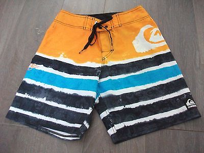 Boys size 12 QUIKSILVER Orange and Blue Board Shorts - *Excellent Con*