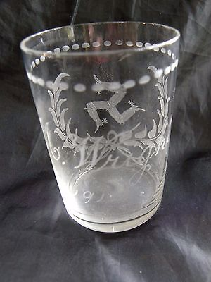 Post Edwardian acid etched Isle of Man glass tumbler from 1912