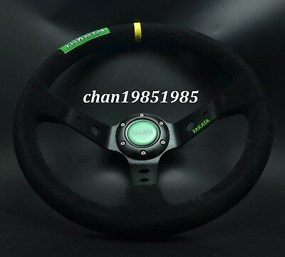 """350mm Suede Leather Deep Dished Steering Wheel 14"""" TAKATA OMP (Black Stitch)"""
